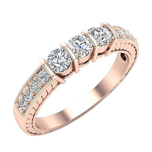 d5422de34cf60 Past Present Future Vintage Three Stone Diamond Band 1/2 ctw 14K Gold (I,I1)