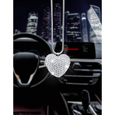EZEYU Clear Bling Car Rear View Mirror Pendant White Crystal Heart-Shaped Prism Hanging Car Home Decoration Suncatcher Car intertior Accessories for Women Car (Diamond Heart-Shaped): Automotive