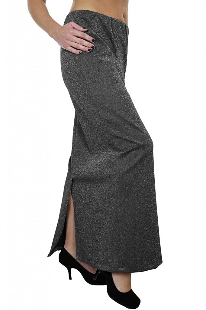 2445-1 Xmas Glitzy Party Soft Feel Stretchy Maxi Tube Skirt Silver