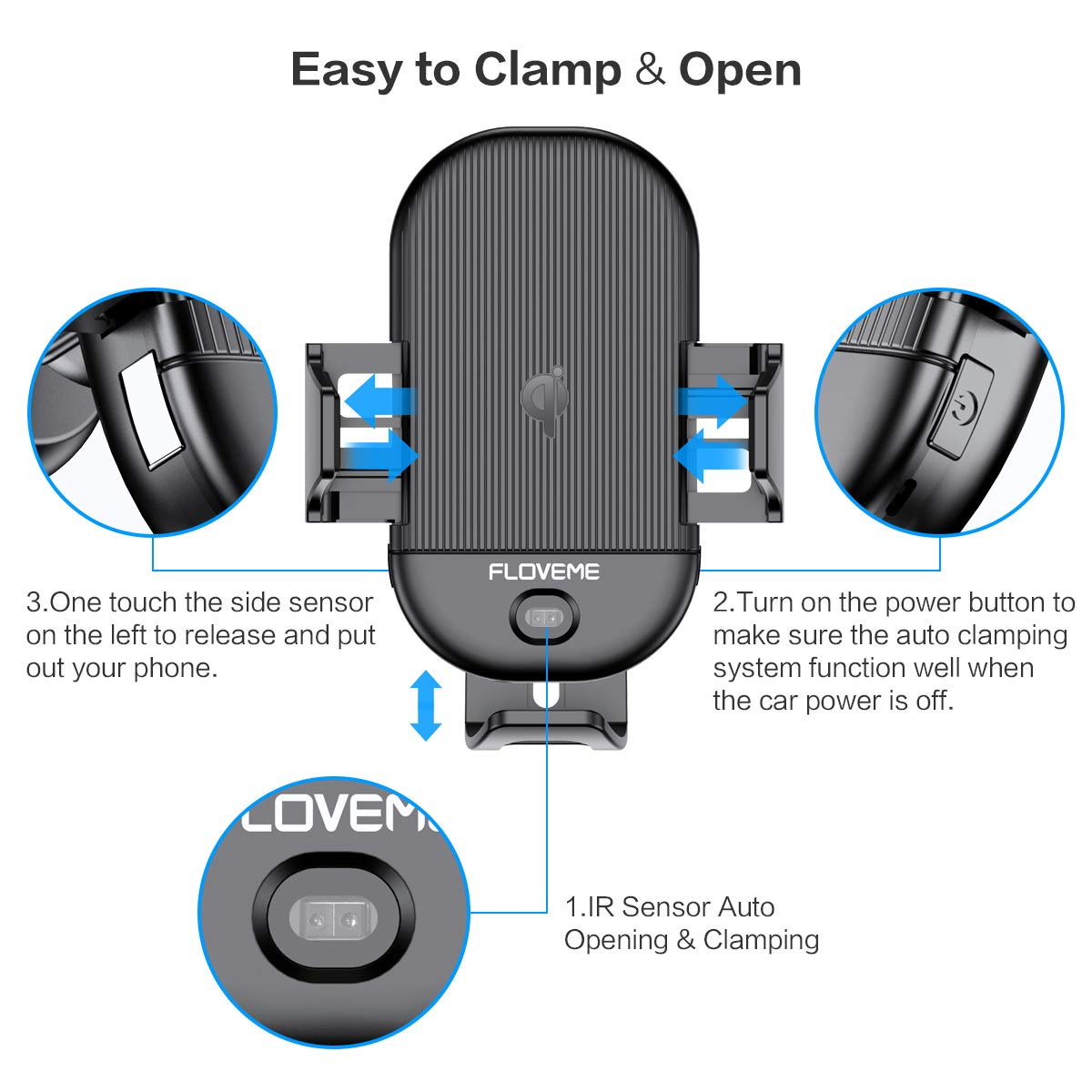 Amazon.com: FLOVEME - Cargador inalámbrico para coche con ...