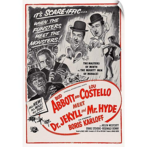 CANVAS ON DEMAND Wall Peel Wall Art Print Entitled Abbott and Costello Meet Dr. Jekyll and Mr. Hyde - Vintage Movie Poster 12