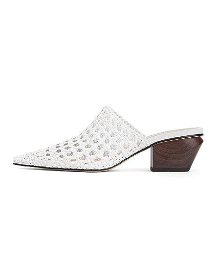 34f17e12ba4 Zara Women s Braided Cowboy Heeled Mules 1232 001 White  Amazon.co ...