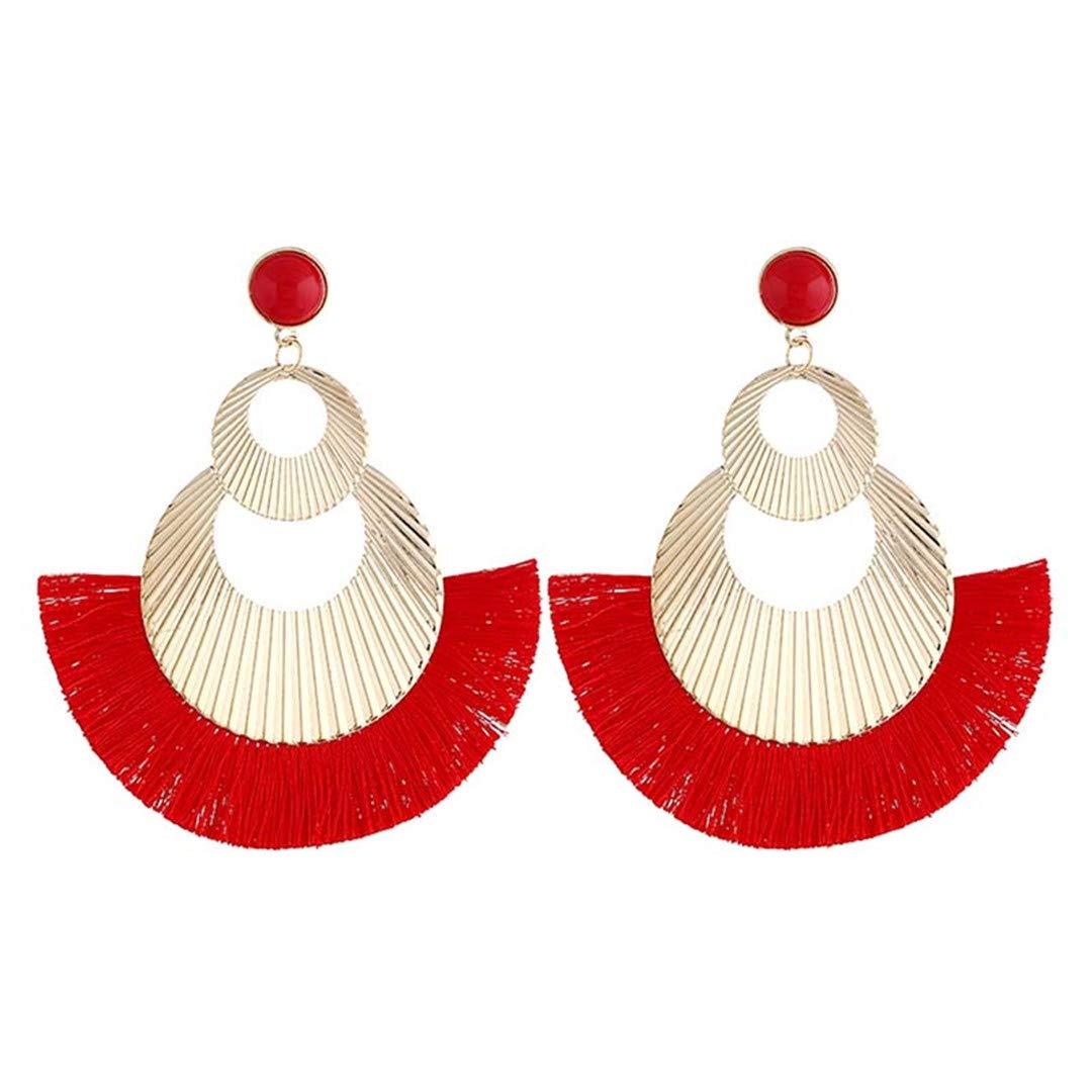 n Style Woman Pendant Earrings Exaggerated Personality Hollow Tassel Pattern Alloy Girl Fashion Earrings