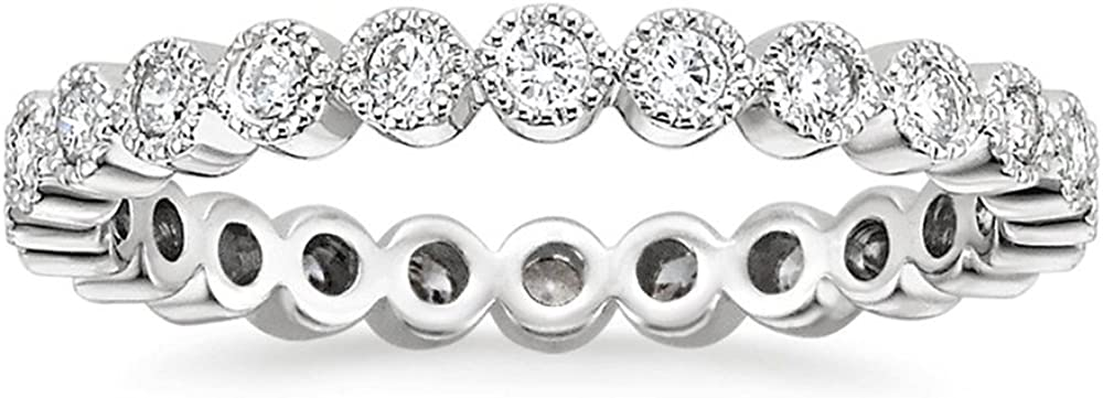 Sterling Silver CZ Simulated Diamond Bezel Set Stackable Ring Eternity Bands for Women Promise Rings for Her