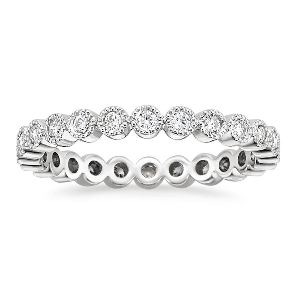 espere Sterling Silver Round Bezel CZ Stack Ring Eternity Bands Promise Rings for Her Rhodium Plating Size 8