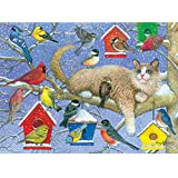 Bits and Pieces - 300 Large Piece Jigsaw Puzzle for Adults - The Party Crasher - 300 pc Birds, Cat, Birdhouses Jigsaw by Artist Amy Rosenberg