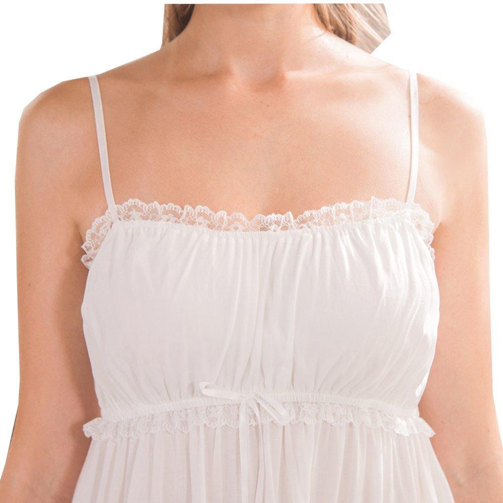Flaydigo 100/% Cotone Donna Camicia da Notte Senza Maniche,Puro Principessa Cotone Camicie da Notte Primavera Estate