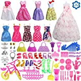 #9: SOTOGO 85 Pcs Barbie Doll Clothes Set Include 10 Pack Barbie Clothes Party Grown Outfits(Color Random) And 75 Pcs Different Barbie Doll Accessories For Little Girl
