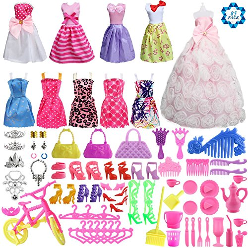 Barbie Doll Accessories Clothes (SOTOGO 85 Pcs Barbie Doll Clothes Set Include 10 Pack Barbie Clothes Party Grown Outfits(Color Random) And 75 Pcs Different Barbie Doll Accessories For Little Girl)