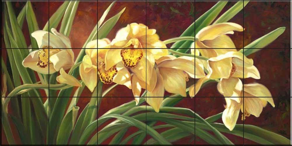 Ceramic Tile Mural - Golden Cymbidium Orchid- by Laurie Snow Hein - Kitchen backsplash / Bathroom shower durable service