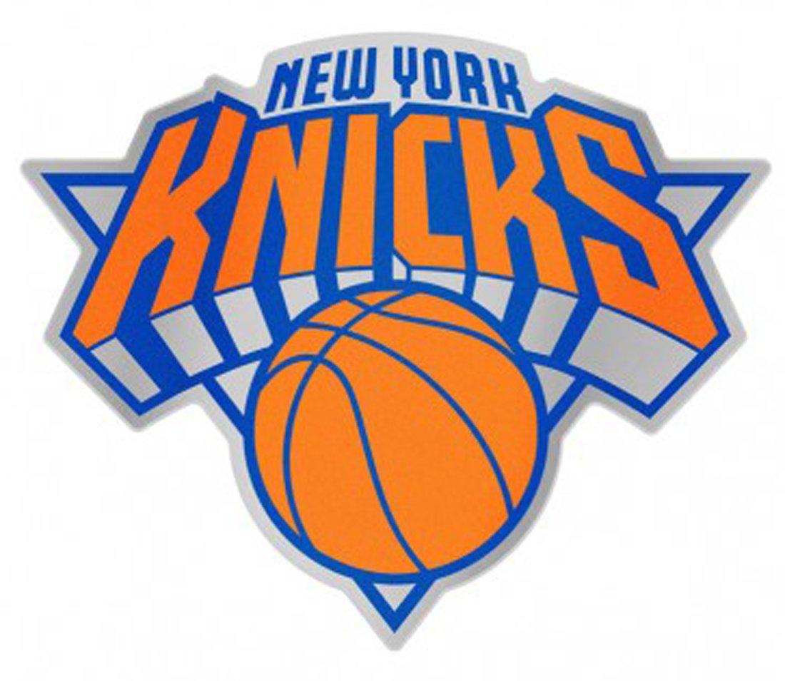 NBA New York Knicks Auto Badge Decal, hard thin plastic, 4.25x3.5 inches