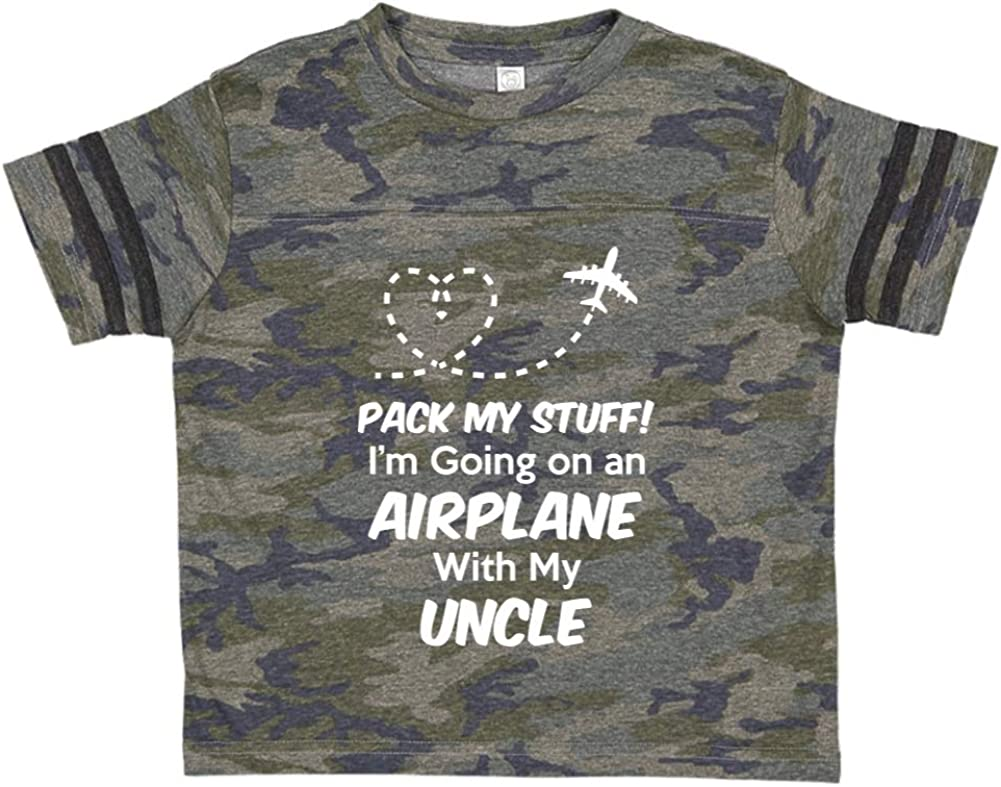 Toddler//Kids Sporty T-Shirt Pack My Stuff Im Going On an Airplane with My Uncle