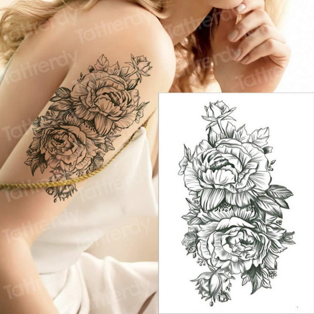 Handaxian 5pcs-Tatuaje Temporal Flor Negra Tatuaje Manga ...