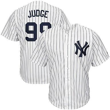 99 NYY Yankees Judge Camisa de béisbol para Hombres Jersey de béisbol para fanáticos Camiseta de Manga Corta Juego Uniforme del Equipo Top Abotonado Blanco Rayas Verticales M-3XL: Amazon.es: Ropa y