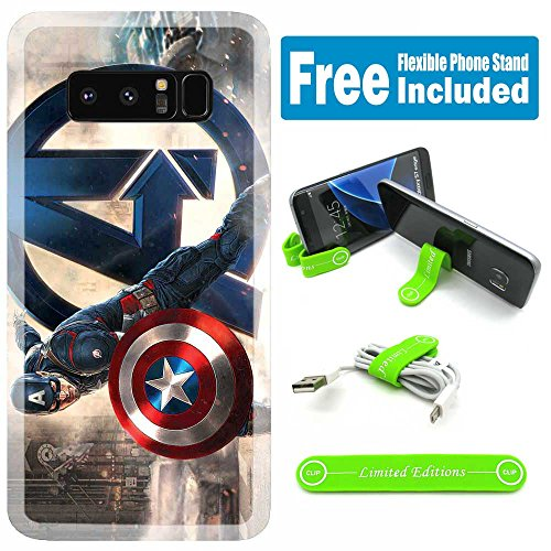 [Ashley Cases] for Galaxy [S10+] [S10 Plus] Cover Case Skin with Flexible Phone Stand - Captain America Pose