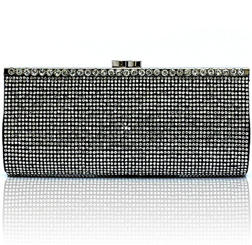 Kaxidy Luxe Diamant Pochette Du Soir Femmes Soirée Pochette Sac De Elegant Dur Sac À Main Noir