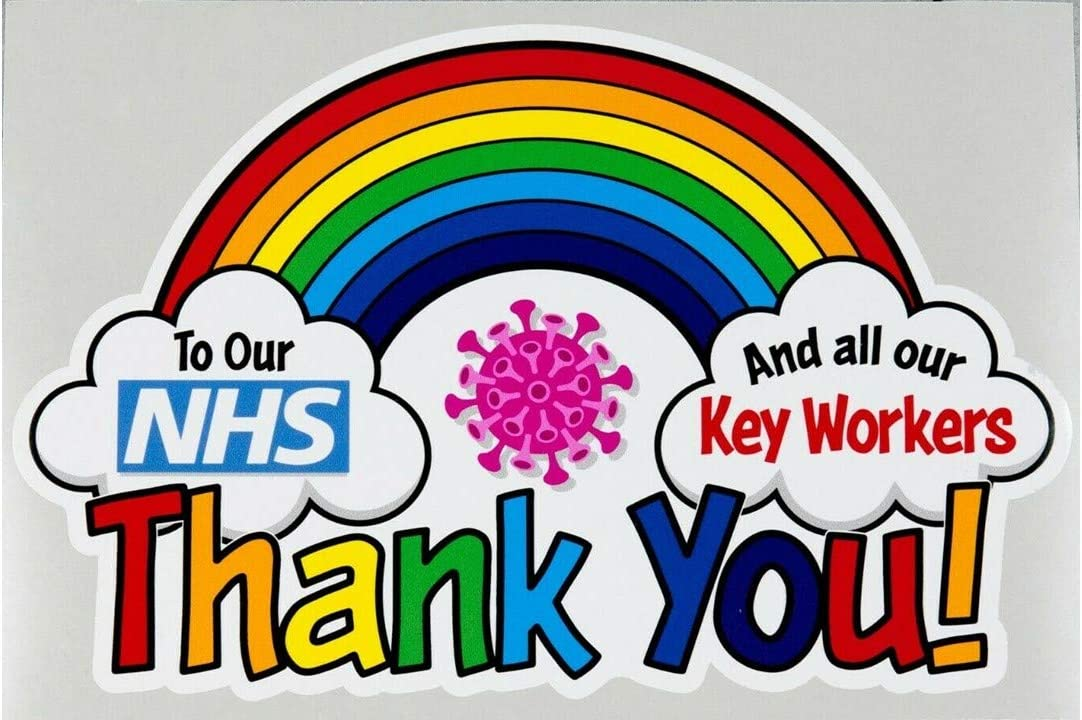 Door Car Van Truck Signs 110x70mm Thank you NHS Superheroes and all the key workers Rainbow self-adhesive Vinyl Sticker Outside of Windows