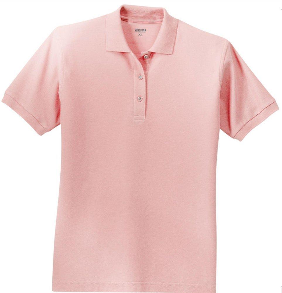 Joe's USA tm Ladies Short Sleeve Polo Shirt-Light Pink-XL