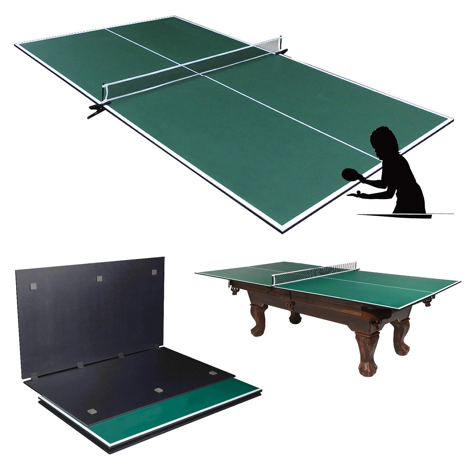 Picotech Portable Ping Pong Table Topper for Pool Table - Indoor Table Tennis Conversion Top Ping Pong Play 4 Pcs Foldable Clamp Net Post Scratch Resistant Space Save for Home Office Billiard Hockey by Picotech