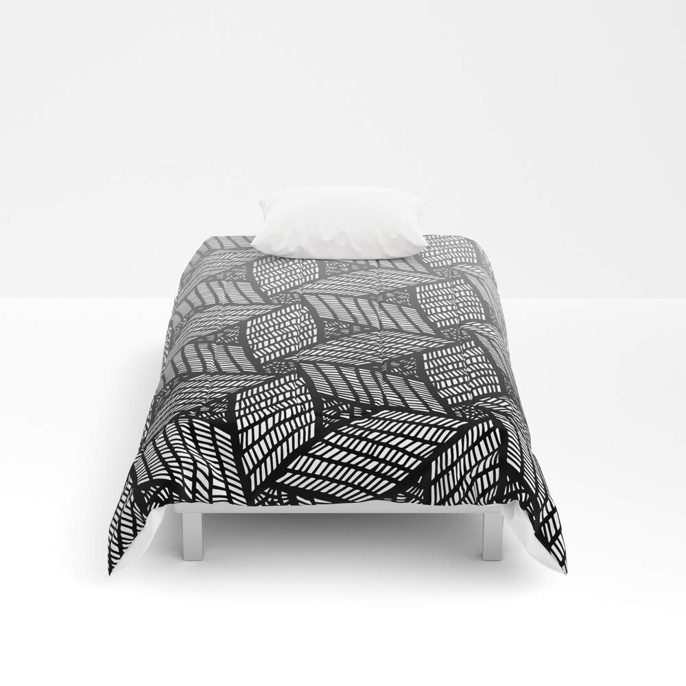 Society6 Comforter, Size Twin XL: 68'' x 92'', Japanese Style Wood Carving Pattern in Gray by mariamahar