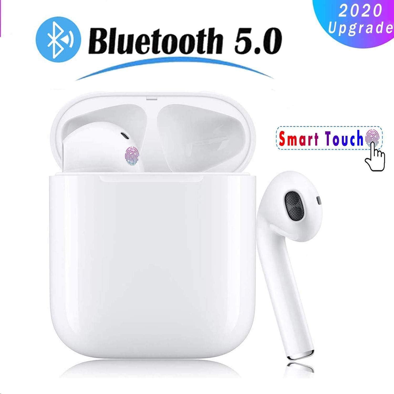 Auricular Bluetooth 5.0, Auricular inalámbrico, micrófono y Caja de Carga incorporados, reducción del Ruido estéreo 3D HD, IPX5 a Prueba de Sudor, Emparejamiento automático