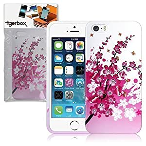 Tigerbox - Carcasa con diseño de cerezos para iPhone 5/5S, color blanco y rosa