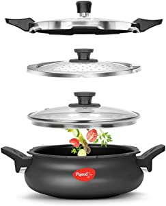Pigeon - Hard Anodized All-In-One Super Cooker - Nonstick - 3 Liter Stove Top Pressure Cooker, Steamer, Cooking Pot