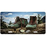 Rikki Knight Hiking Boots with Compass Design License Plate