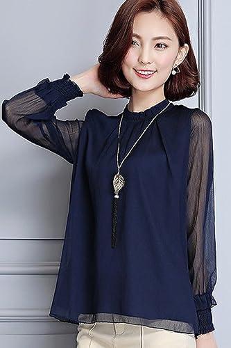(サコイユ)sakoiyuブラウスレディースシースルー長袖おしゃれシフォンフォーマル?~3XL黒白紺(XL,ネイビー)