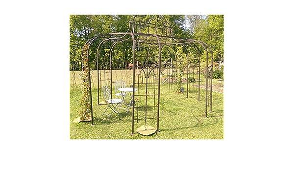 Gloriette Princess X-Large cenador pérgola de jardín refugio ovalada hierro forjado pintura epoxy marrón martillado 300 x 420 x 300 cm: Amazon.es: Jardín