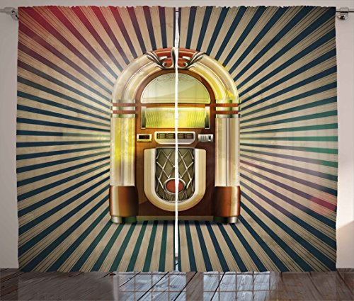 Ambesonne Jukebox Curtains, Retro Vintage 50s Pin up Inspired Striped Backdrop Old Music Box, Living Room Bedroom Window Drapes 2 Panel Set, 108