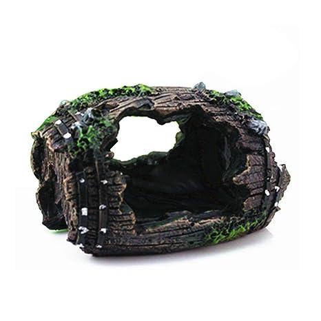 AOLVO Barril de Acuario, Resina 3D, Barril Roto, decoración para Acuario, pecera