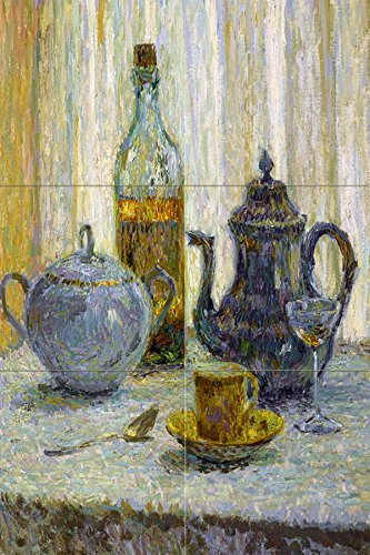 (Tile Mural Still Life Cup Bottle Coffeepot Spoon Sugar Bowl Table by Henri Le Sidaner Kitchen Bathroom Shower Wall Backsplash Splashback 2x3 6