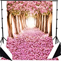 DODOING 5x7ft Photography Backdrop Cherry Blossoms Street Studio Backdrop Photo Photography Background Beautiful Flower Sakura Road