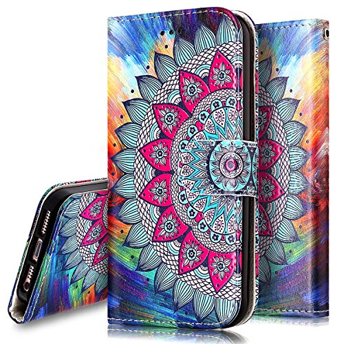 Phezen Iphone 5S Case Iphone 5S Se Wallet Case  Totem Henna Mandala Floral Design Pu Leather Wallet Case With Card Slots Stand Book Style Folio Flip Cover For Iphone 5 5S Se  Henna Mandala