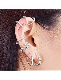 8 Pcs/Set Antique Silver Color Ear Cuff Cartilage Hoop Earrings Set