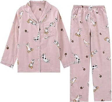 Gasa de algodón de otoño Mangas largas Pijamas Impresión de ...