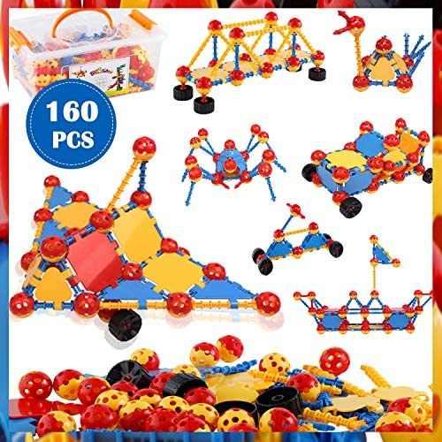 ZoZoplay STEM Learning Toys Building Blocks Kids Educational Toys 160 Pieces Building Set Best Gift for Boys and Girls Engineering Construction Toys Age 3 4 5 6 7 8