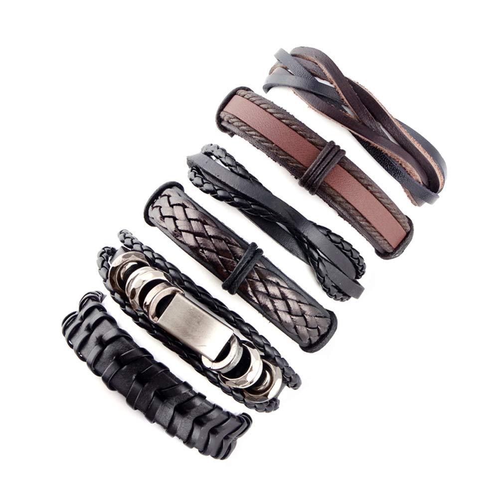 Elefan Cornelia Gift Adjustable Knot Buckle Brown Black Handmade Knitting Leather Bracelet Set for Men Boy Kids(6 Pieces)