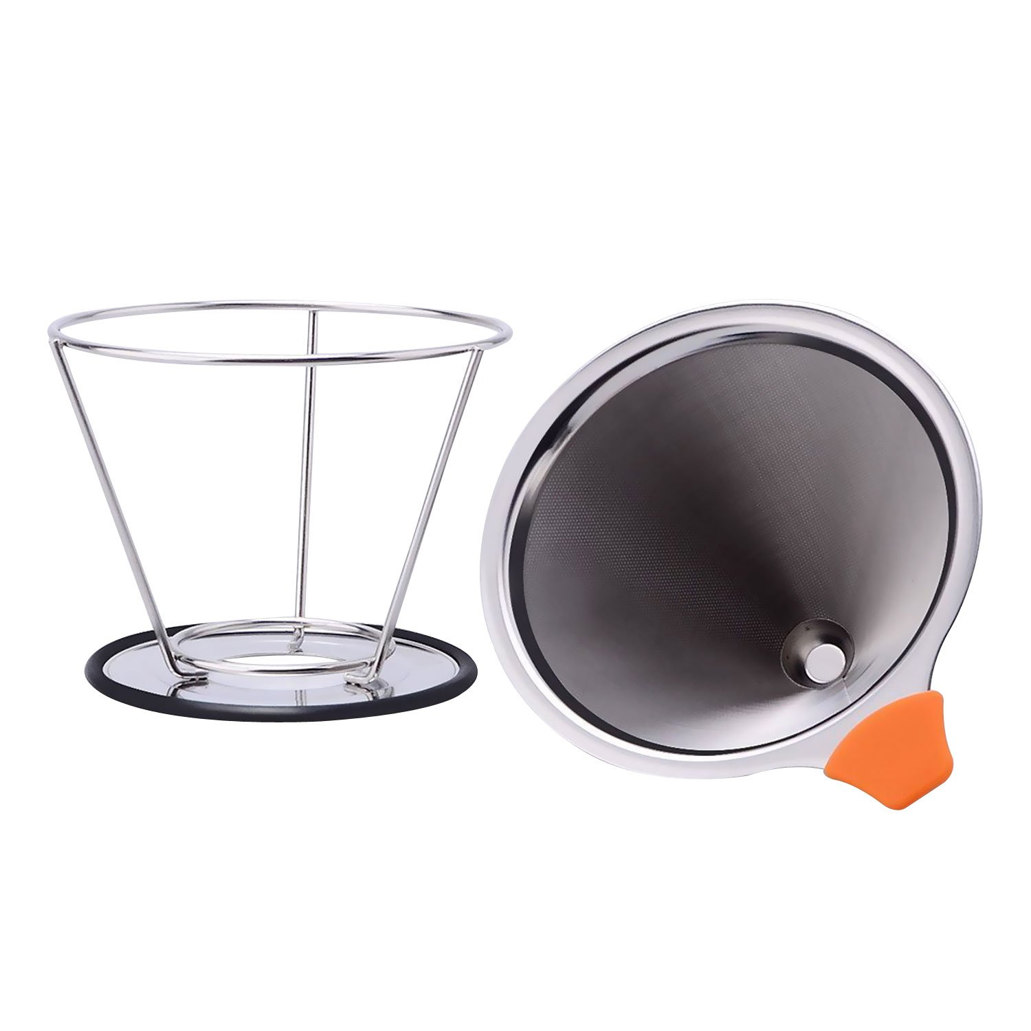 Firlar Pour Over Coffee Filter Paperless & Reusable Permanent Double Layer with Separate Stand for 1-4 cups