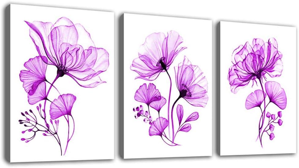 "tigeridge Pink Flowers Canvas Wall Art Bedroom Decor Purple Bathroom Livingroom Office Wall Art Decor Modern Artwork Canvas Picture Home Decor Framed Ready to Hang 12"" x 16"" x 3P"