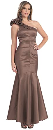 One Shoulder Formal Party Gown Prom Dress #845 (6, Brown)