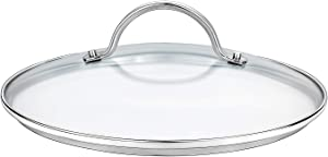 "GOURMEX Tempered Glass Cookware Lid with Stainless Steel Rim and Sturdy Riveted Handle To Fit Pots, Frying Pans and Skillets, Dishwasher and Oven Safe, Heat Resistant (7.9"")"