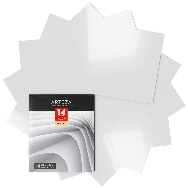 Apto para cualquier m/áquina de corte 25,4x30,5cm f/ácil de pelar y sin t/óxicos Arteza Vinilo textil termoadhesivo blanco Vinilo t/érmico resistente Caja de 14 hojas Vinilo blanco para telas