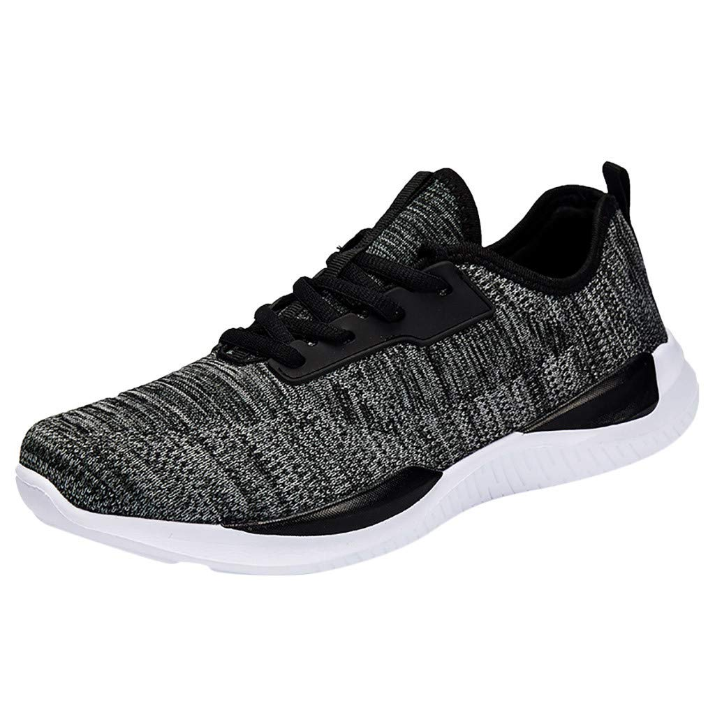 ZOMUSAR Fashion Men's Flying Woven Breathable Non-Slip Wear-Resistant Cushion Sneakers Black by ZOMUSAR