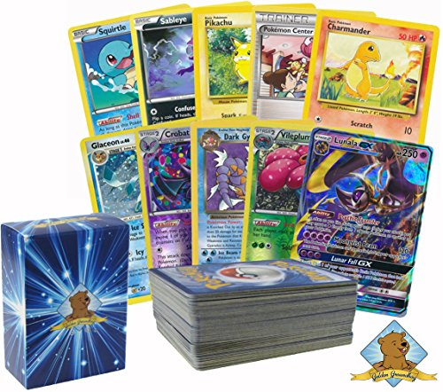 100 Assorted Pokemon Cards with Foils and 2 Ultra Rare Legendary Pokemon! Bonus GX Card! Comes in Custom Golden Groundhog Storage Box! - 2 Rare Card