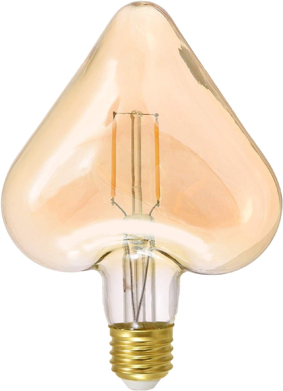 AWSW Love Bulb Edison Vintage Seven Colors Copper Mermaid Led Heart Shaped RGB Silver Line Bulb 10 Pack