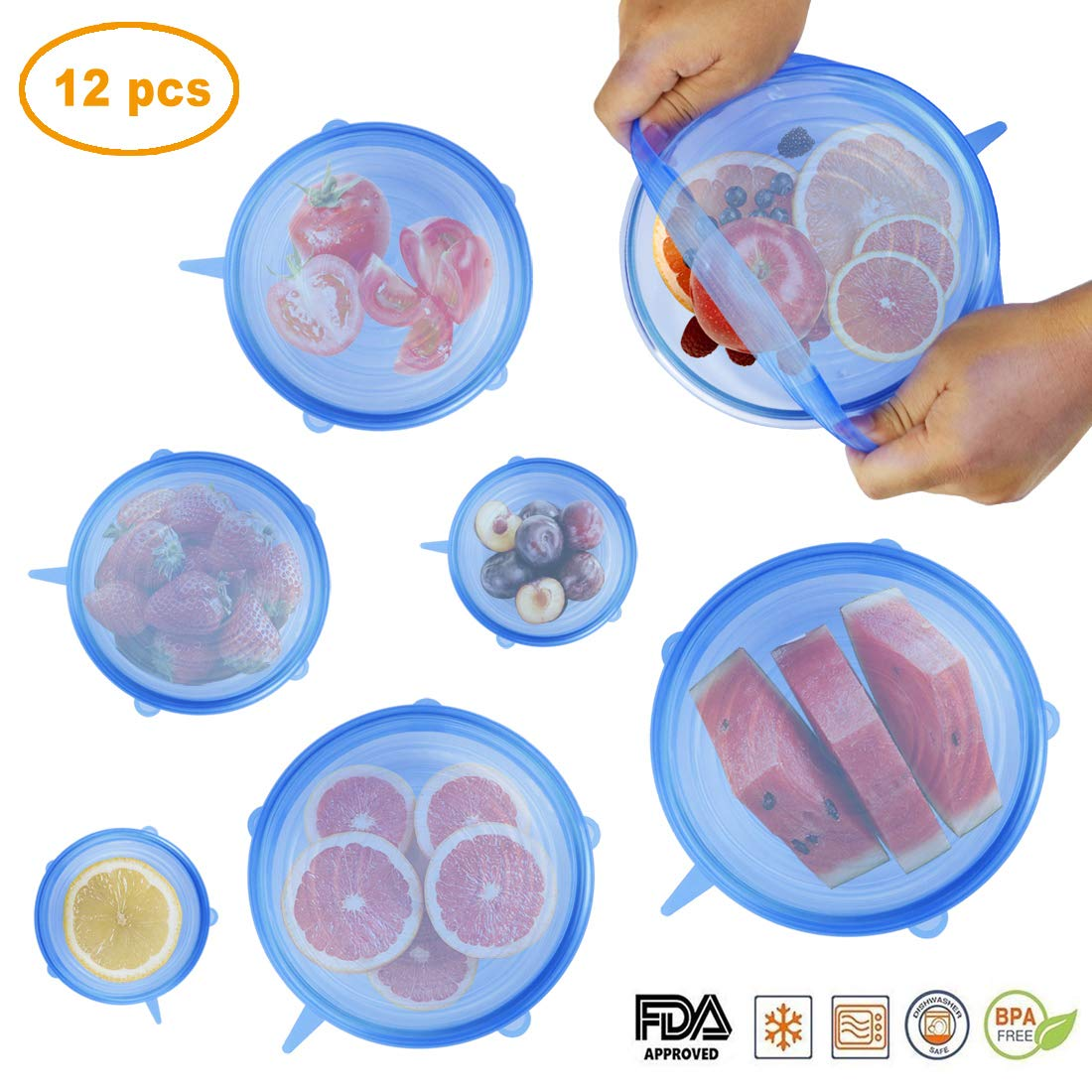 12 PCS Kitchen Silicone Stretch Lids Reusable, Idefair Airtight Food Storage Covers Various Sizes Seal Bowl Stretchy Wrap Cover Keep Food Fresh for Containers, Cups, Plates, Microwave, Dishwasher Safe