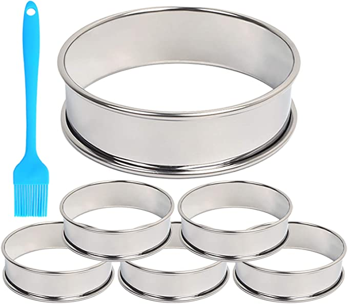 8 Pieces 3.15 Inch Double Rolled Tart Rings Stainless Steel Muffin Rings and 2 Pieces Dough Scrapers Bowl Scrapers for Home Cooking Baking Tools