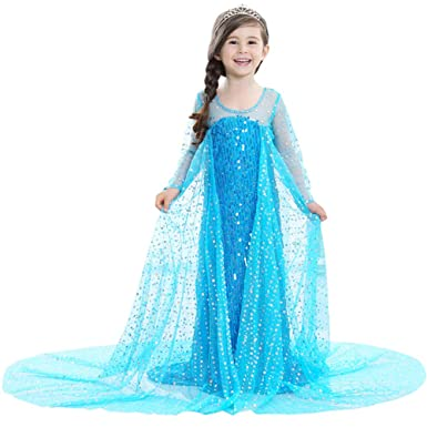 Clothing, Shoes & Accessories Girls Frozen Elsa Anna Kids Girls Dress Costume Princess Party Fancy Xmas Christmas